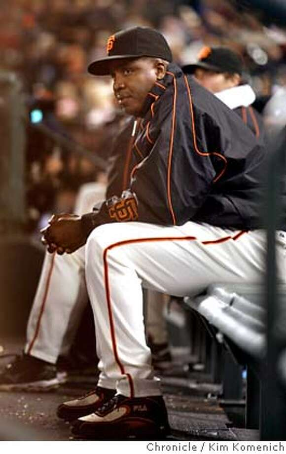 GIANTS22_097_KK.JPG  All eyes are on the dugout as Barry Bonds suits up but does not play (as of the fourth inning) on the day it was announced that he would not be returning next season  Photo by Kim Komenich/The Chronicle  **Barry Bonds MANDATORY CREDIT FOR PHOTOG AND SAN FRANCISCO CHRONICLE. NO SALES- MAGS OUT. Photo: Kim Komenich