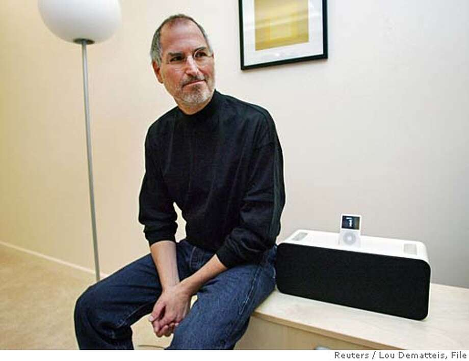 Apple CEO Steve Jobs sits next to the new Apple iPod Hi-Fi which he introduced at an event for press and industry analysts at Apple headquarters in Cupertino, California, February 28, 2006. The Hi-Fi is a new home stereo high-fidelity speaker system which works with any of Apple's iPod models. REUTERS/Lou Dematteis Photo: LOU DEMATTEIS