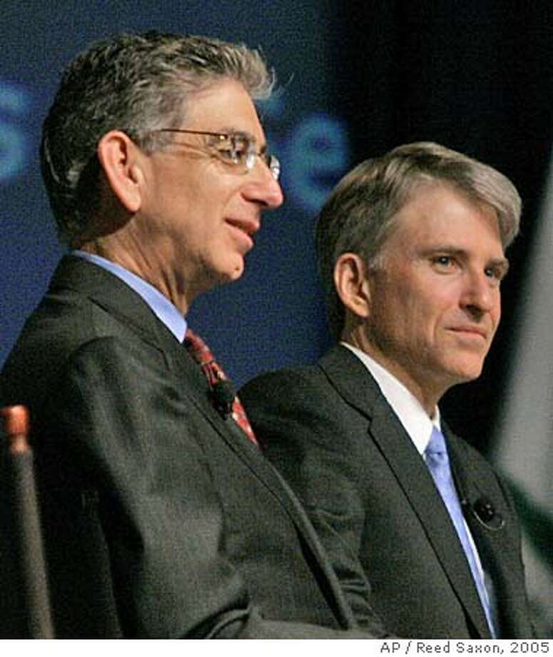 """** FILE ** California Treasurer Phil Angelides, left, and Controller Steve Westly take part in a """"town hall"""" discussion on the state budget in this file photo taken at the California Democratic Party convention in Los Angeles on Saturday, April 16, 2005. Angelides and Westly are both seeking the Democratic nomination for govenor in the June primary election and the right to face off against incumbant Gov. Arnold Schwarzenegger. (AP Photo/Reed Saxon, File)) Ran on: 01-13-2006  Controller Steve Westly was an eBay executive. Treasurer Phil Angelides is his chief opponent. Ran on: 01-13-2006  Controller Steve Westly was an eBay executive. Treasurer Phil Angelides is his chief opponent. Ran on: 01-13-2006 Ran on: 01-13-2006 Ran on: 01-27-2006  State Treasurer Phil Angelides (left) and Controller Steve Westly, both running for governor, could be taken to task by a Senate resolution for not putting more pressure on big banks. Ran on: 02-02-2006  Phil Angelides (left) and Steve Westly are collecting cash. APRIL 16, 2005 FILE PHOTO Photo: REED SAXON"""