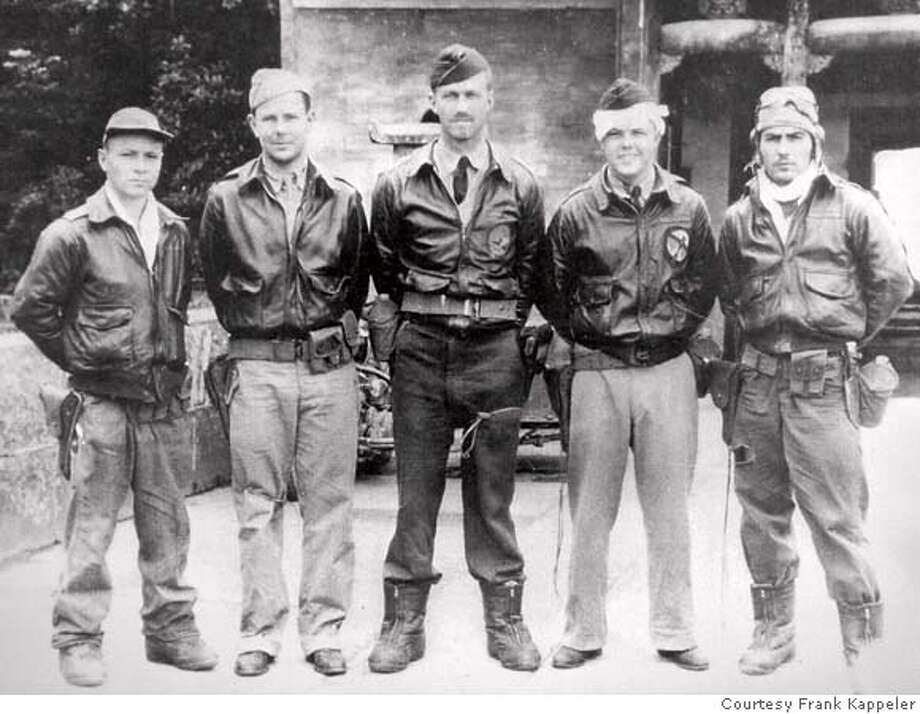 "VETERAN_0022_cs.jpg Event on 8/22/07 in Santa Rosa  A copy photo of Frank A. Kappeler (cq - spelled incorrectly on assignment) second from right and the crew of his B-25 bomber during the Doolittle Raid. Left-to-right: S/Sgt. William L. Birch (bombardier), Frank A. Kappeler (navigator), Capt. C. Ross Greening (pilot), Kenneth E. Reddy (co-pilot), and Sgt. Melvin J. Gardner (engineer-gunner). Kappeler, 93, is a retired Lt. Colonel in the U.S. Air Force, now living in Santa Rosa. He is one of the last survivors of the famed 1942 Doolittle Raid on Tokyo. A navigator and lieutenant at the time of the raid, he was one of 80 pilots, gunners, navigators and bombardiers who sailed out of Alameda aboard the Navy carrier USS Hornet and on April 18 flew 650 miles in 16 highly-modified Mitchell B-25 bombers to attack Tokyo and other Japanese targets - a huge shock to the Japanese, only five months after the attack at Pearl Harbor. Led by Lt. Colonel James H. ""Jimmy"" Doolittle, the attack was a one-way mission, due to the flying distance. Many of the planes made it to China before the crews bailed out, narrowly escaping death. Kappeler was one of them. Photographed August 22, 2007. Photo courtesy Frank Kappeler Frank Kappeler, Doolittle Raiders MANDATORY CREDIT FOR PHOTOG AND SF CHRONICLE/NO SALES-MAGS OUT Photo: Courtesy Frank Kappeler"
