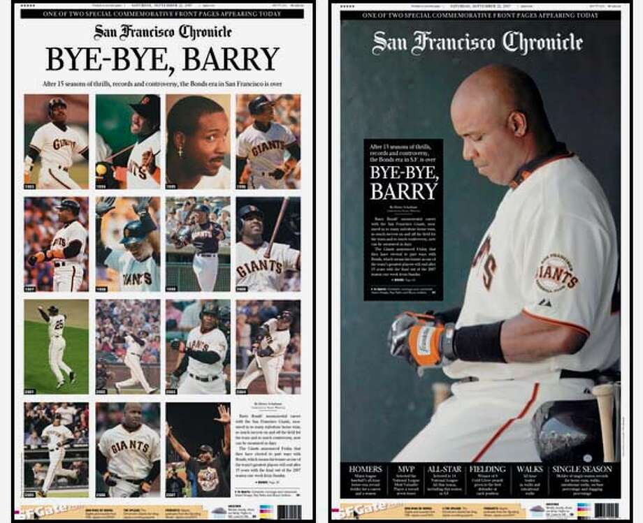 Both of the Special Commemorative Front Pages of the San Francisco Chronicle giving tribute to the 15 year career of Barry Bonds with the San Francisco Giants.