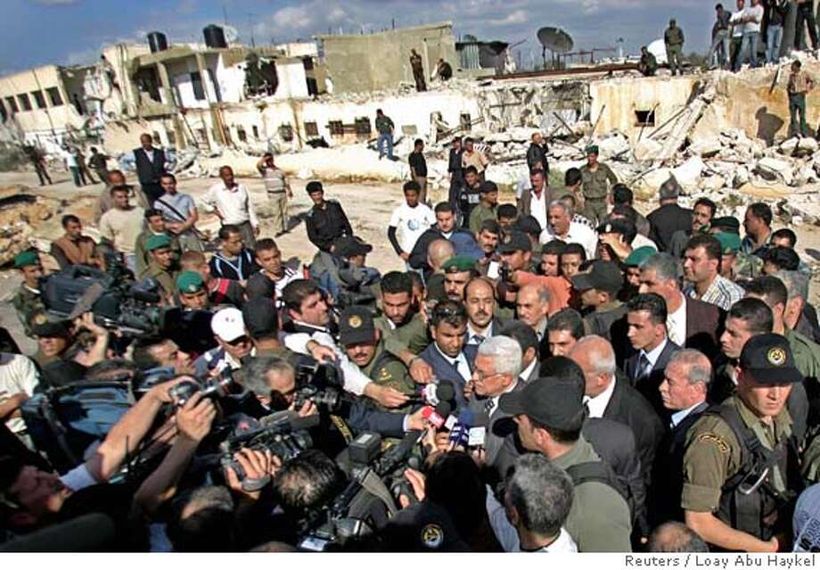 Palestinian President Abbas speaks to the media in Jericho Photo: LOAY ABU HAYKEL