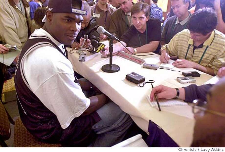 SUPER-C-20JAN03-SP-LA.jpg Tampa Bay Buccaneer's Keyshawn Johnson answer the media questions during the first press conference of the 2003 Super Bowl being held at the Hilton Torrey Pines in La Jolla, Ca. January 20, 2003. The Oakland Raiders play the Tennessee Titan in the Super Bowl Sunday January 26, 2003. Lacy Atkins/San Francisco Chronicle Photo: Lacy Atkins