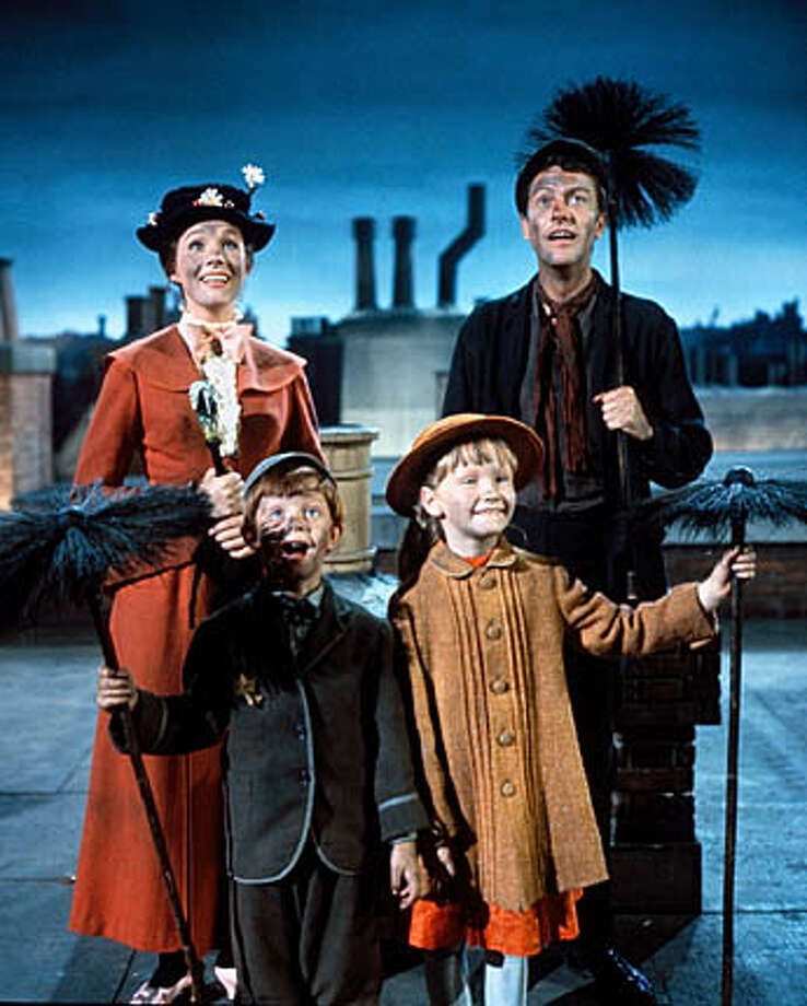 """Mary Poppins"" (1964) starred Julie Andrews as Mary Poppins, Dick Van Dyke as chimney sweep Bert Dawes, and Karen Dotrice and Matthew Garber as Jane and Michael Banks, Poppins' small charges."