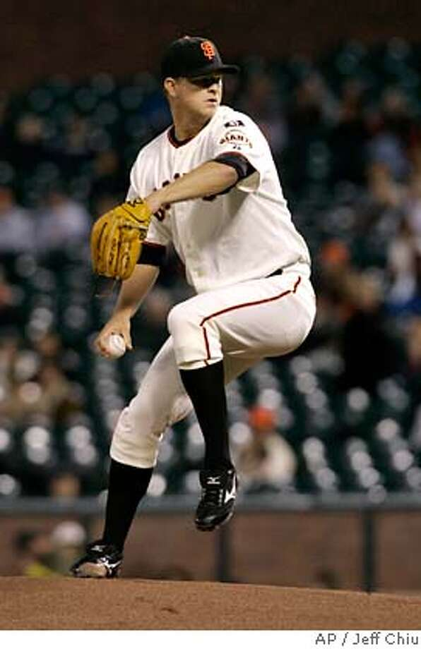 San Francisco Giants' Matt Cain pitches to the Cincinnati Reds in the first inning of a baseball game in San Francisco, Thursday, Sept. 20, 2007. (AP Photo/Jeff Chiu) Photo: Jeff Chiu