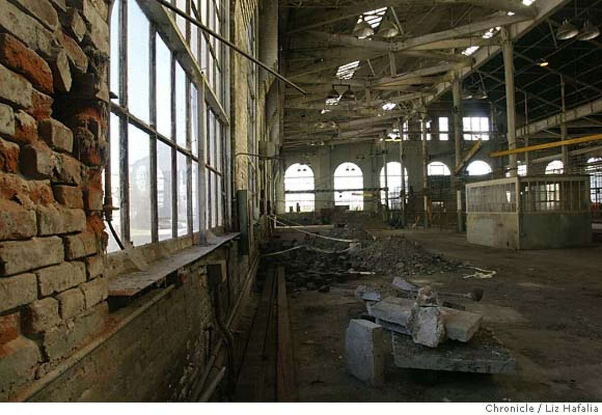 Building 113 at Pier 70, now a wreck, was a machine shop in the old Union Iron Works, which dates back to the Spanish American War. Chronicle file photo, 2004, by Liz Hafalia