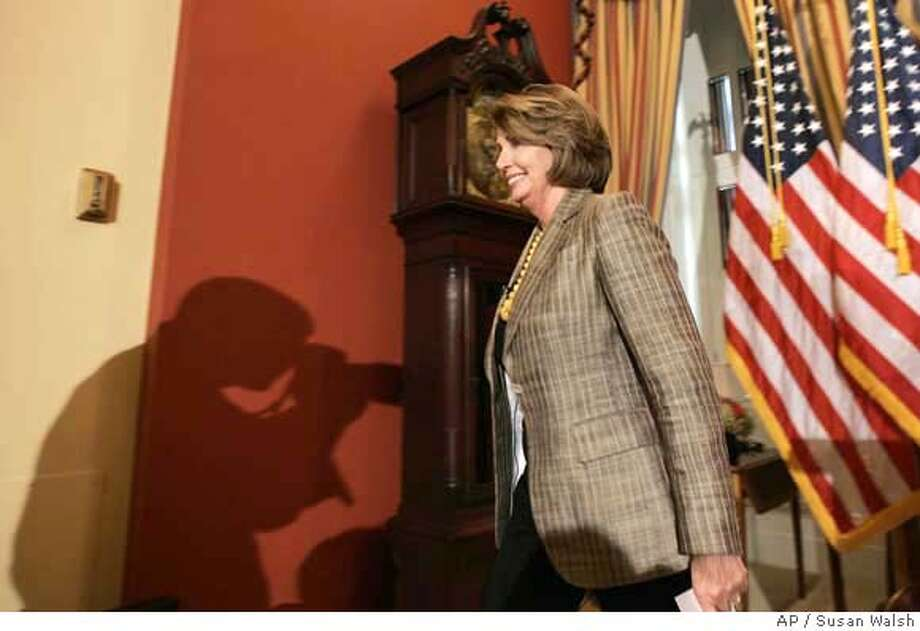 Speaker of the House Nancy Pelosi, D-Calif., walks from the podium following a news conference on Capitol Hill, Thursday, Sept. 20, 2007 in Washington. (AP Photo/Susan Walsh) Photo: Susan Walsh