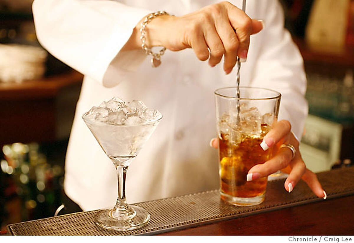 MANHATTAN21_026_cl.JPG Photo of a Manhattan cocktail drink being made by Tracy Prather at Tadich Grill. on 9/14/07 in San Francisco. photo by Craig Lee / The Chronicle MANDATORY CREDIT FOR PHOTOG AND SF CHRONICLE/NO SALES-MAGS OUT