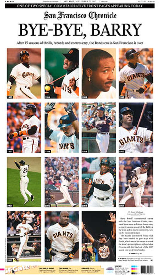 Two commemorative front  pages of the San Francisco Chronicle pay tribute to the 15-year career of  Barry Bonds with the San Francisco Giants.