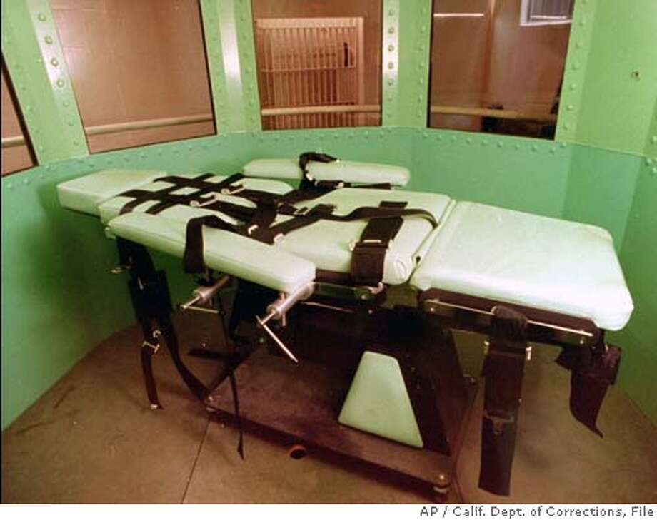** ADVANCE FOR MONDAY, FEB. 27 -FILE ** This California Department of Corrections photograph, taken in January 1996, shows the lethal Injection table in the execution chamber at California's San Quentin Prison. Had Michael Morales been executed as planned this week, his death would have taken place in this dimly lit room deep inside the fortress of San Quentin _ a far cry from the crowds that once gathered to see frontier justice administered at the end of the hangman's rope. (AP Photo/Calif. Dept. of Corrections, File) ADVANCE FOR MONDAY, FEB. 27, 2006-FILE CALIFORNIA DEPARTMENT OF CORRECTIONS PHOTOGRAPH FILE PHOTO Photo: HO