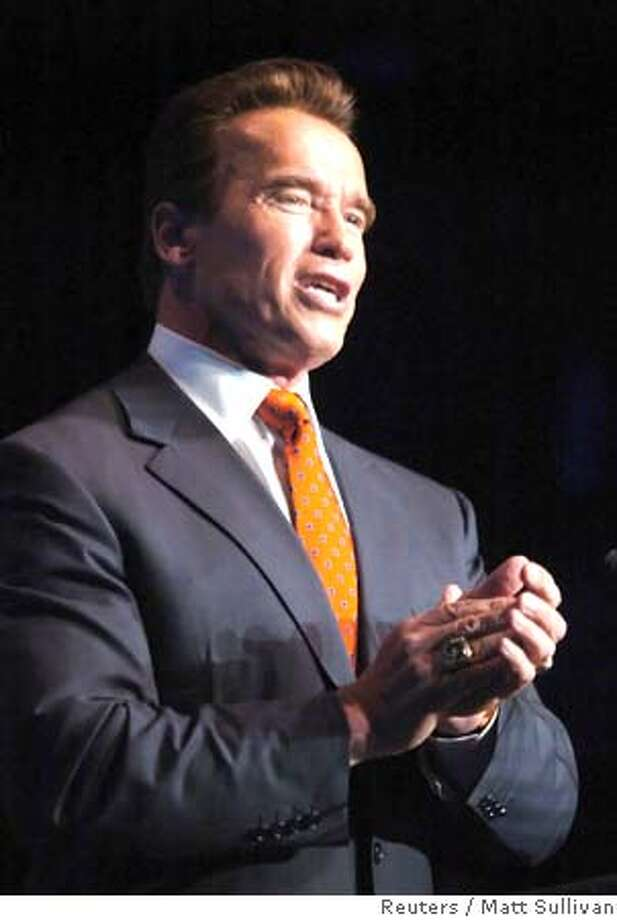 California governor Arnold Schwarzenegger speaks to the audience at the conclusion of the 2006 Arnold Classic during the Arnold Fitness Weekend at the Veterans Memorial in Columbus, Ohio March 4, 2006. REUTERS/Matt Sullivan 0 Photo: MATT SULLIVAN