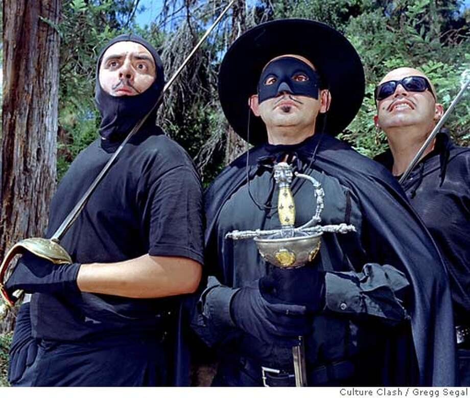 (l to r) Richard Montoya, Ric Salinas and Herbert Sig�enza�better known as the irreverent performance troupe Culture Clash�return to Berkeley Rep for the hilarious world premiere of Zorro in Hell, directed by Tony Taccone. Photographer: Gregg Segal Photo: -