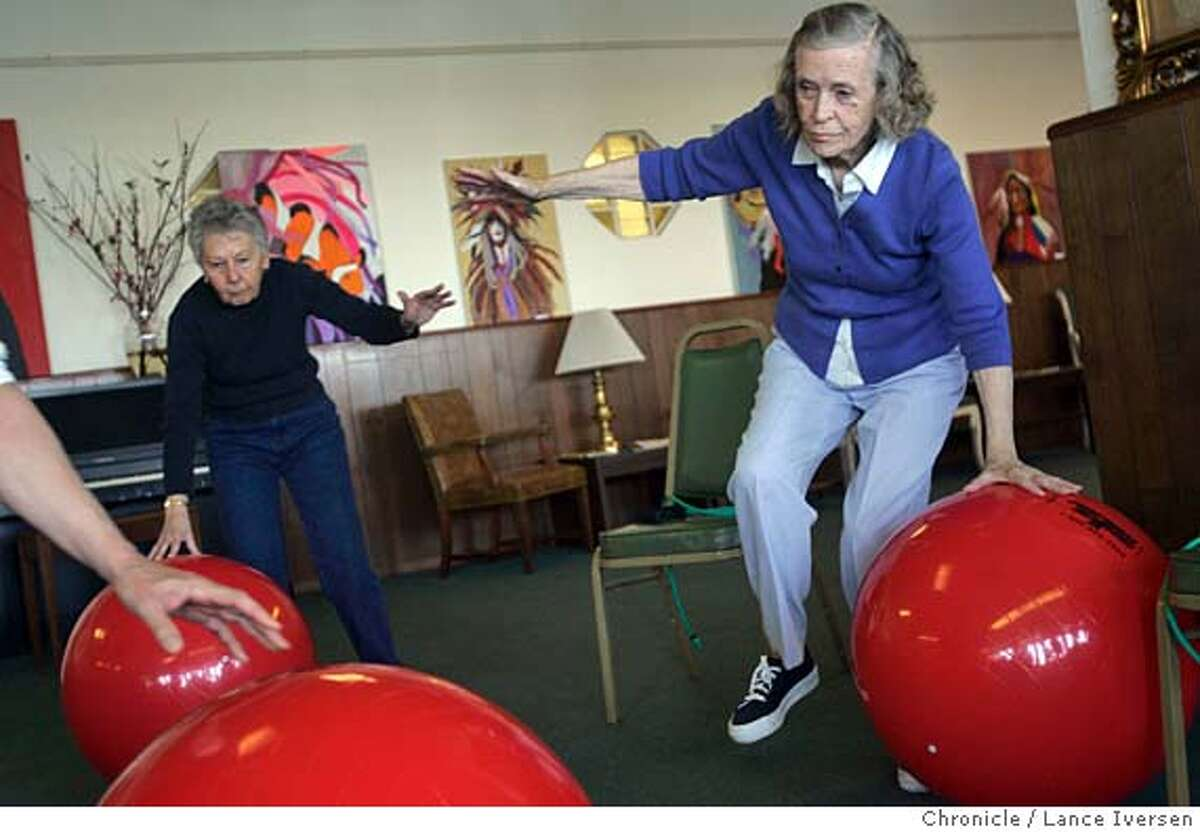 AGING_0185.jpg_ L to R Eleanor Weiner and Alma Morris follow Alex Signorello (not in photo) who teaches a Strength, Balance & Fall Prevention class at San Francisco Senior Center at Aquatic Park. The face of the United State is becoming more wrinkled but vibrant. The shifts are dramatic: people are living longer but healthier lives with lower rates of disability, according to a new report by the U.S. Census Bureau. They're also more educated than their predecessors and fewer are in poverty. These changes are redefining what it means to grow old. People over 65 are returning to work full or part-time or simply retiring later. Senior centers are no longer sedentary places where people play dominoes in the back room. At the San Francisco Senior Center at Aquatic Park, offers everything from art to weight training on giant red balls in an effort to stay strong and healthy. By Lance Iversen/San Francisco Chronicle