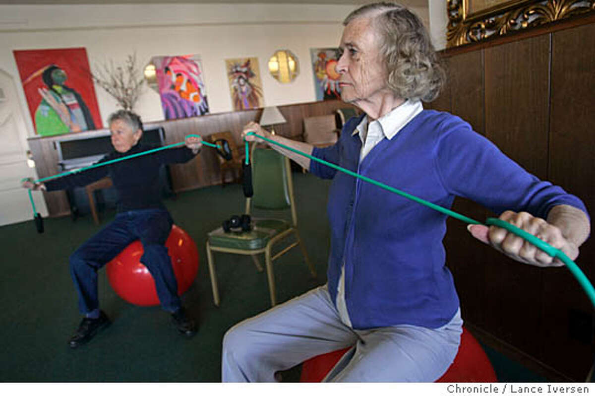 AGING_0167.jpg_ L to R Eleanor Weiner and Alma Morris follow Alex Signorello (not in photo) lead as he teaches a Strength, Balance & Fall Prevention class at San Francisco Senior Center at Aquatic Park. The face of the United State is becoming more wrinkled but vibrant. The shifts are dramatic: people are living longer but healthier lives with lower rates of disability, according to a new report by the U.S. Census Bureau. They're also more educated than their predecessors and fewer are in poverty. These changes are redefining what it means to grow old. People over 65 are returning to work full or part-time or simply retiring later. Senior centers are no longer sedentary places where people play dominoes in the back room. At the San Francisco Senior Center at Aquatic Park, offers everything from art to weight training on giant red balls in an effort to stay strong and healthy. By Lance Iversen/San Francisco Chronicle The face of the United State is becoming more wrinkled but vibrant. The shifts are dramatic: people are living longer but healthier lives with lower rates of disability, according to a new report by the U.S. Census Bureau. They're also more educated than their predecessors and fewer are in poverty. These changes are redefining what it means to grow old. People over 65 are returning to work full or part-time or simply retiring later. Senior centers are no longer sedentary places where people play dominoes in the back room. At the San Francisco Senior Center at Aquatic Park, offers everything from art to weight training on giant red balls in an effort to stay strong and healthy. By Lance Iversen/San Francisco Chronicle