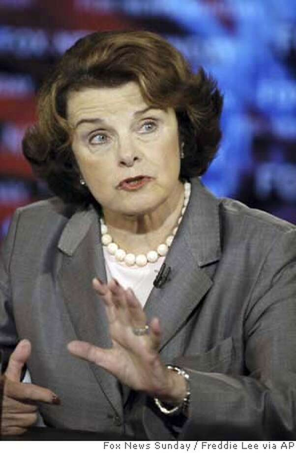 "In this photo provided by FOX News, Sen. Dianne Feinstein, D-Calif., appears on ""Fox News Sunday"" in Washington, Sunday, Sept. 9, 2007. (AP Photo/FOX News Sunday, Freddie Lee) MANDATORY CREDIT: FREDDIE LEE, FOX NEWS SUNDAY MANDATORY CREDIT: FREDDIE LEE, FOX NEWS SUNDAY, NO SALES NO ARCHIVES Photo: Freddie Lee"
