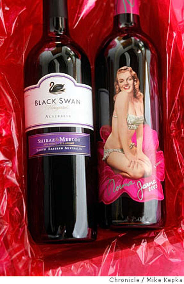 2004 Black Swan Vineyards South Eastern Australia Shiraz and Merlot and a 2005 Norma Jean California Merlot.  Mike Kepka / The San Francisco Chronicle MANDATORY CREDIT FOR PHOTOG AND SF CHRONICLE/ -MAGS OUT Photo: Mike Kepka