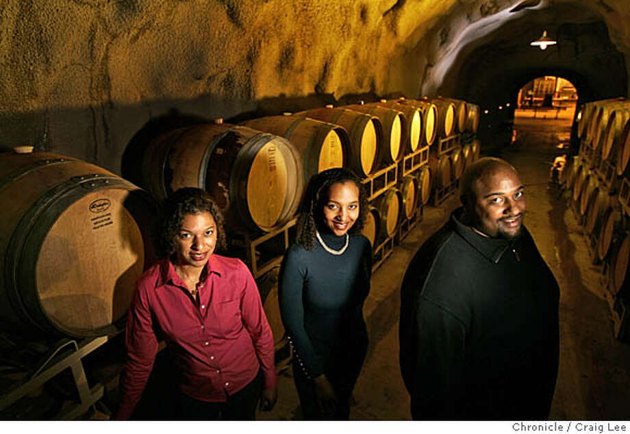NAPAZIN09_346_cl.JPG  Three young African Americans who run Brown Family Estate. They produce a great Napa Valley Zinfandel. Photo of the Browns, left-right: Celia Deneen Brown, Coral Brown, and David Brown, inside their wine cave. They are sisters and brother.  Craig Lee / The Chronicle MANDATORY CREDIT FOR PHOTOG AND SF CHRONICLE/ -MAGS OUT Photo: Craig Lee