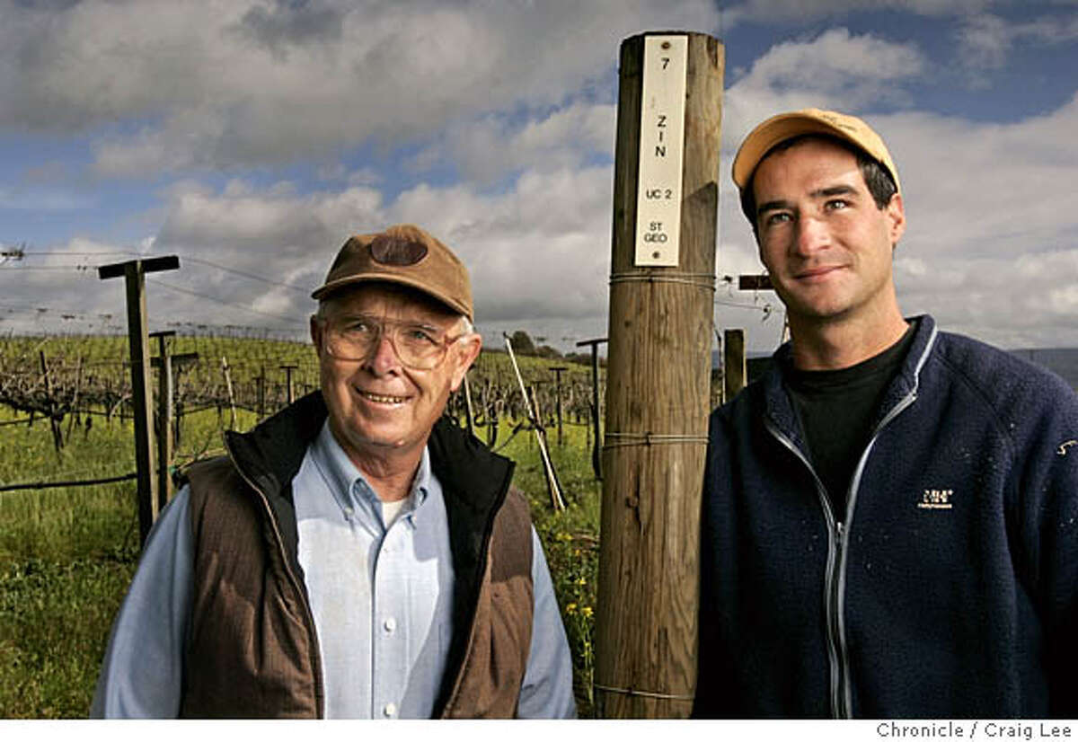 NAPAZIN09_051_cl.JPG The Hendry Ranch in Napa where they make nice Zinfandel in Napa Valley. Photo of George Hendry (left) and his nephew, Mike Hendry (right), the vineyard manager, in the
