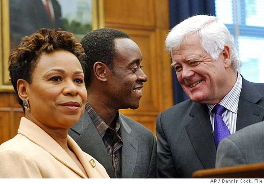 "Actor Don Cheadle discusses his recent trip to the Darfur region of the Sudan with members of the U.S. Congress during a news conference on Capitol Hill Thursday, Jan. 27, 2005. From left are: Rep. Barbara Lee, D-Calif., Cheadle and Rep. Jim McDermott, D-Wash. Cheadle is nominated for best actor in the Academy Awards for his role in the film ""Hotel Rwanda."" (AP Photo/Dennis Cook) Ran on: 02-01-2005  Barbara Lee, D-Oakland, recently visited Darfur and saw the suffering of thousands of refugees.  ALSO RAN: 06/29/2005 Ran on: 07-05-2005  Barbara Lee and Lynn Woolsey, from left, Bay Area representatives, are co-chairs of the Congressional Progressive Caucus. Ran on: 07-05-2005  Barbara Lee and Lynn Woolsey, from left, Bay Area representatives, are co-chairs of the Congressional Progressive Caucus. Ran on: 12-24-2005  Rep. Barbara Lee, D-Oakland, has introduced a resolution requiring the White House to turn over the names of all who were secretly wiretapped. Ran on: 12-24-2005  Rep. Barbara Lee, D-Oakland, has introduced a resolution requiring the White House to turn over the names of all who were secretly wiretapped. Photo: DENNIS COOK"