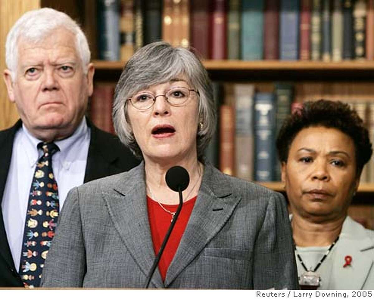 U.S. Representative Lynn Woolsey (D-CA), (C), and co-sponsors of H.Con.Res.35 hold a news conference to call for hearings in the House International Relations Committee to bring U.S. troops home from Iraq while on Capitol Hill, February 9, 2005. The resolution would express 'the sense of Congress that the president should develop and implement a plan to begin the immediate withdrawal of United States Armed Forces from Iraq.' From L-R are: Representative Jim McDermott (D-WA) and Representative Barbara Lee (D-CA). REUTERS/Larry Downing Ran on: 02-18-2005 Rep. Christopher Cox, R-Newport Beach, said members of the bipartisan group need to work together on substantive issues. Ran on: 02-18-2005 Rep. Christopher Cox, R-Newport Beach, said members of the bipartisan group need to work together on substantive issues. Ran on: 05-06-2005 Joe Nation Ran on: 06-27-2005 Ran on: 07-05-2005 Barbara Lee and Lynn Woolsey, from left, Bay Area representatives, are co-chairs of the Congressional Progressive Caucus. Ran on: 07-05-2005 Barbara Lee and Lynn Woolsey, from left, Bay Area representatives, are co-chairs of the Congressional Progressive Caucus. Ran on: 07-22-2005 Ran on: 07-22-2005 0