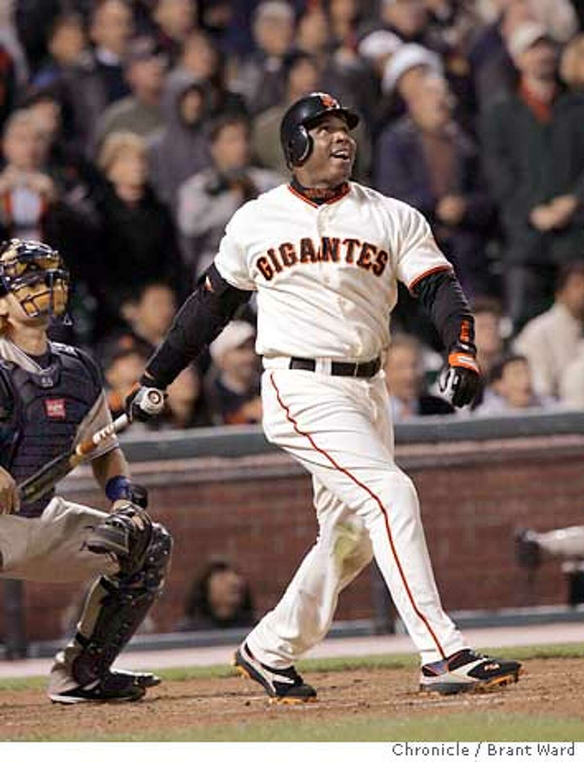 Bonds second at bat is a fly to center field to end the 3rd inning...he smiled as he watched. Barry Bonds returned to action Monday night against the division-leading San Diego Padres. Brant Ward 9/12/05