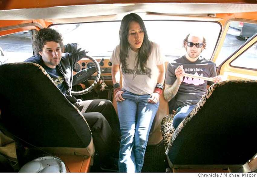 rambler07_089_mac.jpg Inside the front seats of the van, Jake Japanese, Tina Gordon and Shane Medavich plan the trip to Austin in about 10 days. The Rambler, a vehicle built by musician Tina Gordon (with an arts grant) to be a traveling stage. It's a flat-bed with a good quality sound system -- and she's taking on the road to SXSW music festival in Austin to play some renegade, unregistered, no-application-fee-or-official-listing shows. Event in San Francisco, Ca on 3/1/06 Photo by : Michael Macor/ San Francisco Chronicle Mandatory credit for Photographer and San Francisco Chronicle/ - Magazines Out
