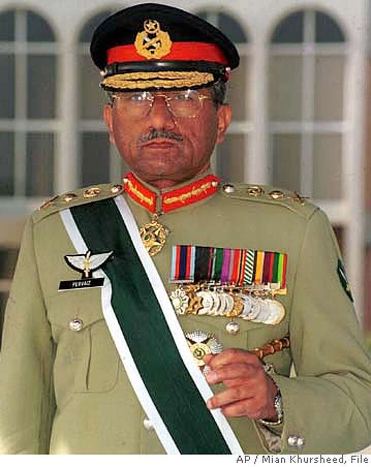 *** CORRECTS SPELLING OF FIRST NAME *** FILE--Pakistan Gen. Pervez Musharraf, shown in this undated file photo, will give up his army post soon after re-election as president according to a gGovernment lawyer Tuesday Sept. 18, 2007. (AP Photo/Mian Khursheed, File) *** CORRECTS SPELLING OF FIRST NAME *** UNDATED FILE PHOTO Photo: MIAN KHURSHEED