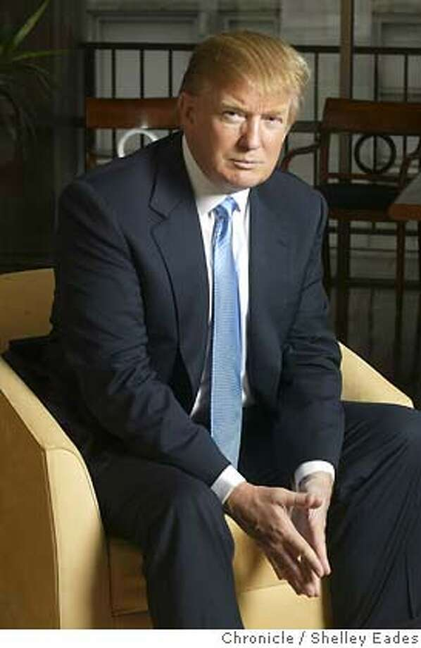 DONALD18098se.JPG On 9/7/05 in San Francisco.  Donald Trump visits Macy's to promote his new mens clothing line.  Chronicle Photo by Shelley Eades Ran on: 09-18-2005  Donald Trump visits Macy's West to promote his new clothing line for men. The suits sell for $500, or $5,500 less than ones he wears. Photo: Shelley Eades