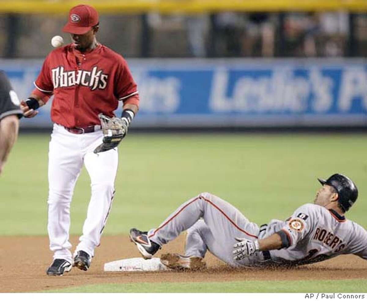 Arizona Diamondbacks second baseman Alberto Callaspo, left, tosses the baseball after forcing out San Francisco Giants' Dave Roberts, right, on a fielder's choice in the first inning of a baseball game Tuesday, Sept. 18, 2007, in Phoenix. (AP Photo/Paul Connors)