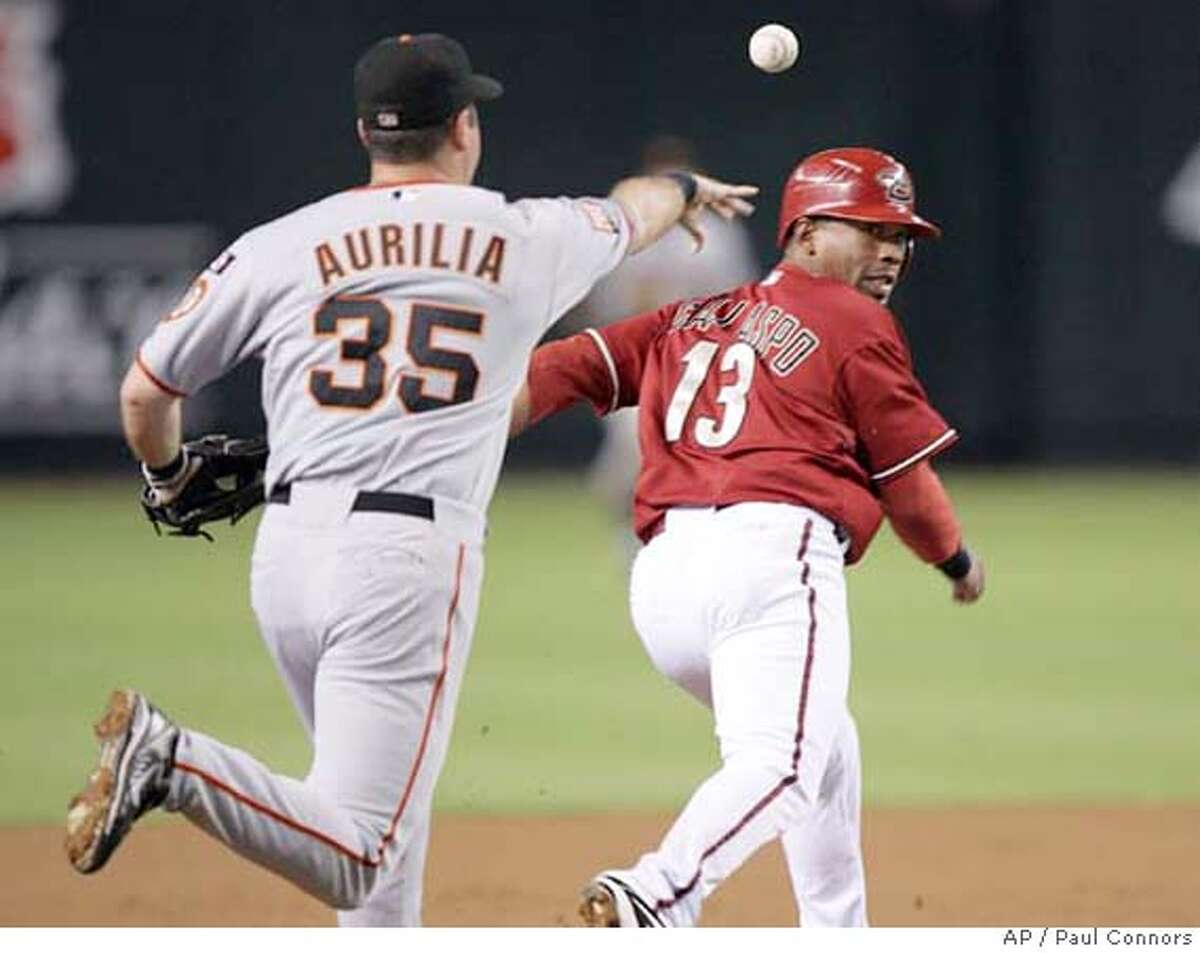 ** CORRECTS SPELLING OF LAST NAME FRANDSEN ** Arizona Diamondbacks' Alberto Callaspop, right, runs back to first as San Francisco Giants third baseman Rich Aurilia, left, tosses the ball to second baseman Kevin Frandsen, not shown, in the first inning of a baseball game Tuesday, Sept. 18, 2007, in Phoenix. Callaspo was tagged out on the rundown. (AP Photo/Paul Connors)