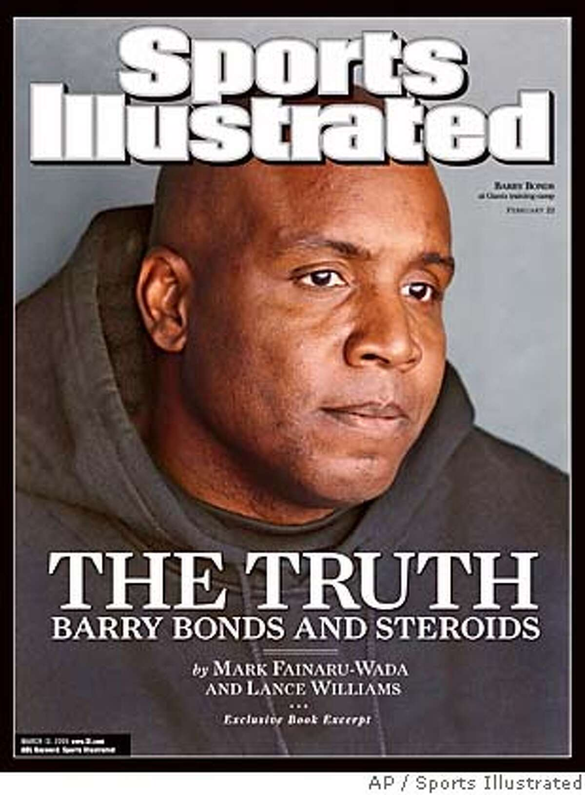 """This image provided by Sports Illustrated shows the cover of the March 13, 2006 issue featuring the San Francisco Giants' Barry Bonds. The issue features an excerpt of """"Game of Shadows,"""" a book written by two San Francisco Chronicle reporters, which provides details of the baseball slugger's extensive doping program including his use of a vast array of performance-enhancing drugs, for at least five seasons beginning in 1998. (AP Photo/Sports Illustrated, John W. McDonough)"""