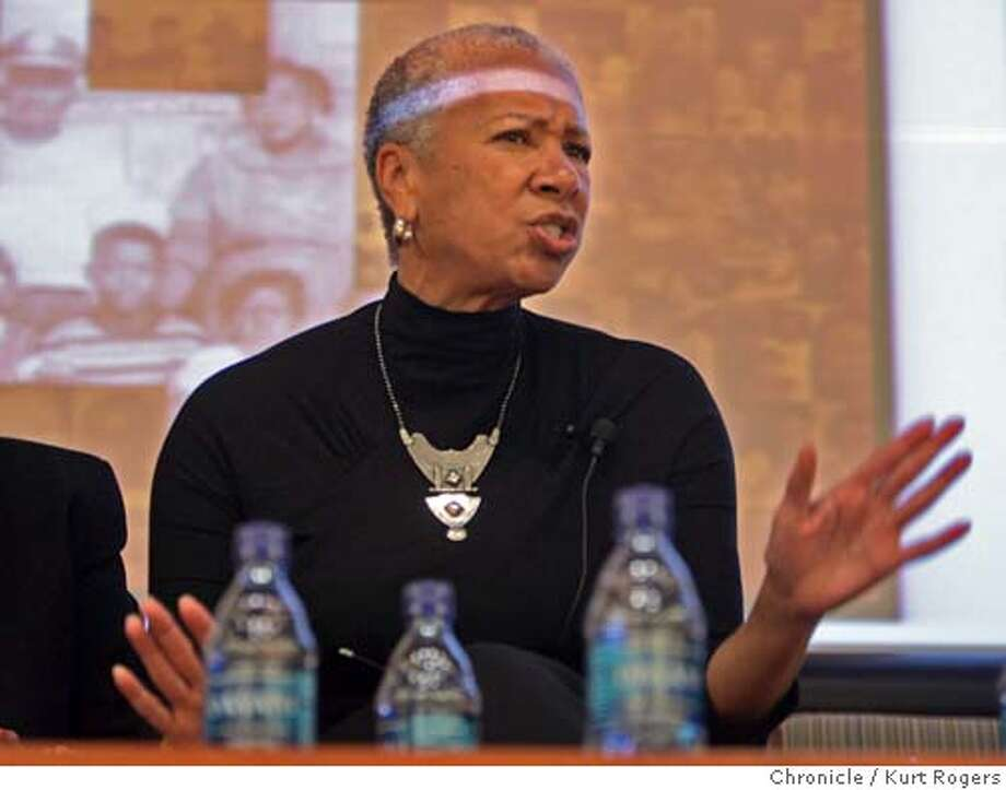 Angela Glover Blackwell,Founder and Chief Executive Officer ,Founded Policylinc in 1999.was one of the speakers.  A conference being haled at UCSF's Mission Bay campus was filed to capacity with people on hand to here from speakers in the Black community .  Kurt Rogers San Francisco SFC  The Chronicle BLACK_HISTORY_00047_kr.JPG MANDATORY CREDIT FOR PHOTOG AND SF CHRONICLE/ -MAGS OUT Photo: Kurt Rogers
