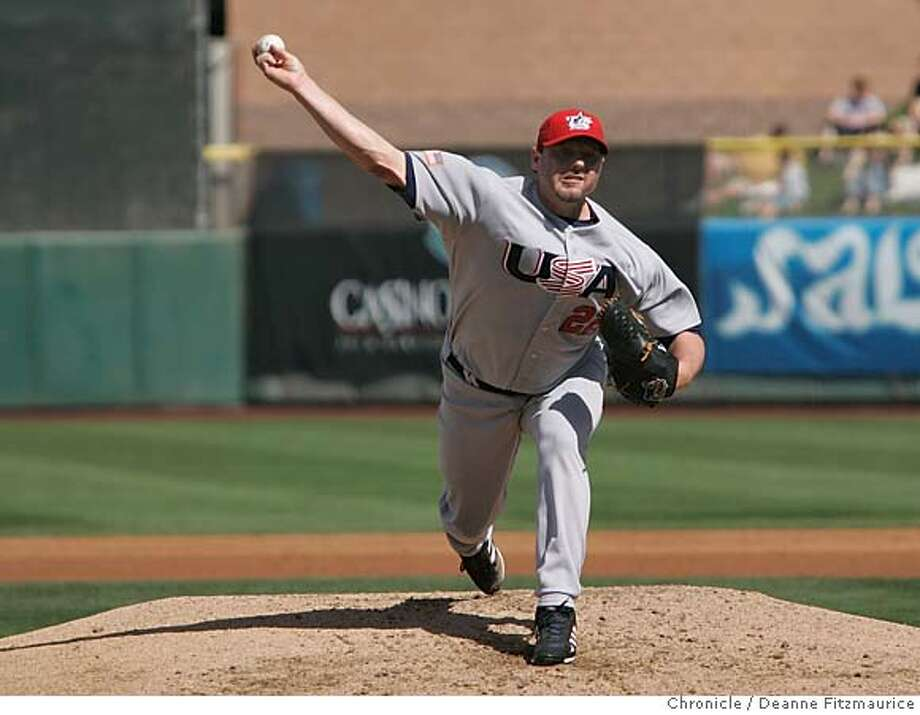giants_399_df.jpg  Roger Clemens was the starting pitcher for Team USA of the World Baseball Classic. They played an exhibition game today against the San Francisco Giants at Scottsdale Stadium.  Event was shot on 3/5/06 in Scottsdale.  San Francisco Chronicle photo by Deanne Fitzmaurice Photo: Deanne Fitzmaurice