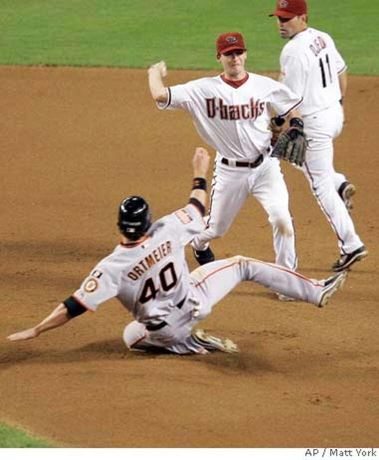 San Francisco Giants' Dan Ortmeier (40) is forced out at second by Arizona Diamondbacks' Stephen Drew during a double play in the fourth inning of a baseball game Monday, Sept. 17, 2007 in Phoenix. At right is Diamondbacks' Augie Ojeda (11). (AP Photo/Matt York) Photo: Matt York
