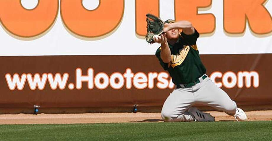 athletics_223_df.jpg  Mark Kotsay has a hard time tracking down this ball in the sun in the outfield as the Oakland Athletics lose 9-7 to the Milwaukee Brewers in a Spring Training game.  Event was shot on 3/4/06 in Phoenix.  San Francisco Chronicle photo by Deanne Fitzmaurice Photo: Deanne Fitzmaurice
