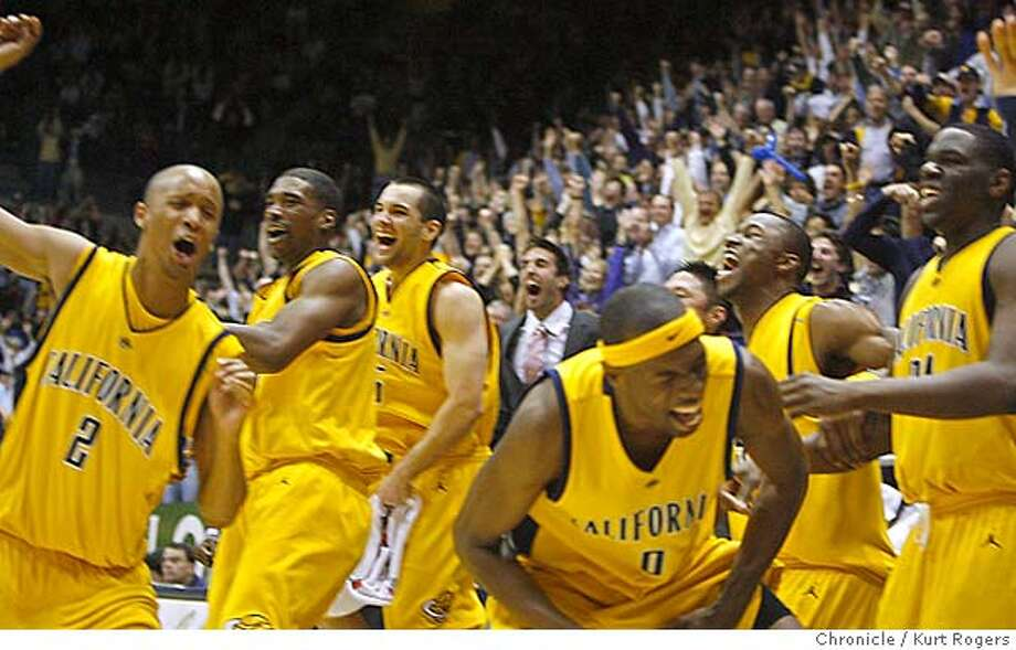 The Cal bench erupts at the end of the game after Steve Panawek a walk-on scored the last points of the game .  Cal Vs USC Kurt Rogers BERKELEY SFC  The Chronicle CAL_00193_kr.JPG MANDATORY CREDIT FOR PHOTOG AND SF CHRONICLE/ -MAGS OUT Photo: Kurt Rogers