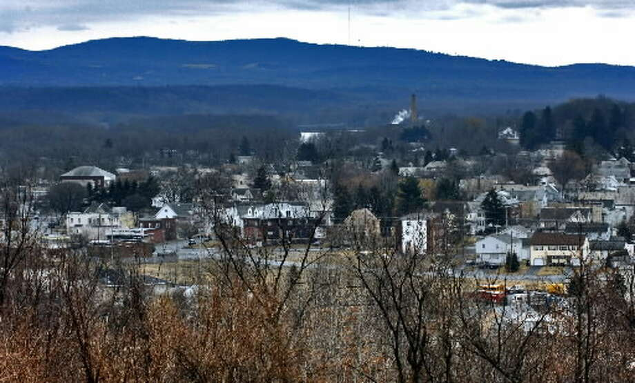 The city of Mechanicville, seen in this panorama, is still waiting for The Esplanade project, a proposed mix of commercial space and apartments along the Hudson River. (Philip Kamrass / Times Union archive)