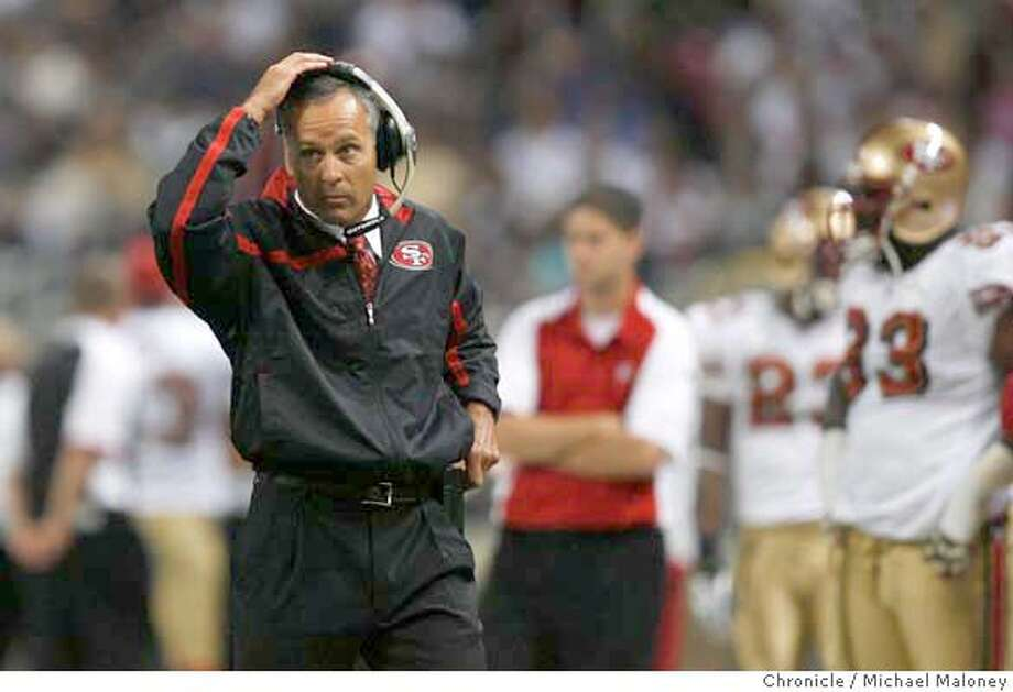 SF 49ers head coach Mike Nolan seems to be in disbelief during the 2nd quarter.  The St Louis Rams host the San Francisco 49ers at Edward Jones Dome on 9/16/07 in St Louis, MO. The SF 49ers won 17-16.  Photo by Michael Maloney / San Francisco Chronicle  ***roster/code replacement MANDATORY CREDIT FOR PHOTOG AND SF CHRONICLE/NO SALES-MAGS OUT Photo: Michael Maloney