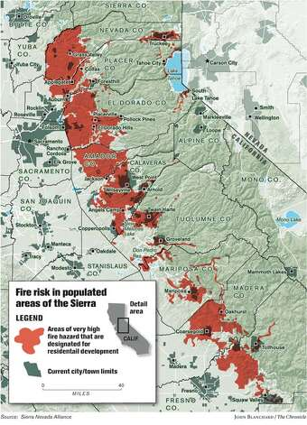 Fire Risk in Populated Areas of the Sierra. Chronicle graphic by John Blanchard