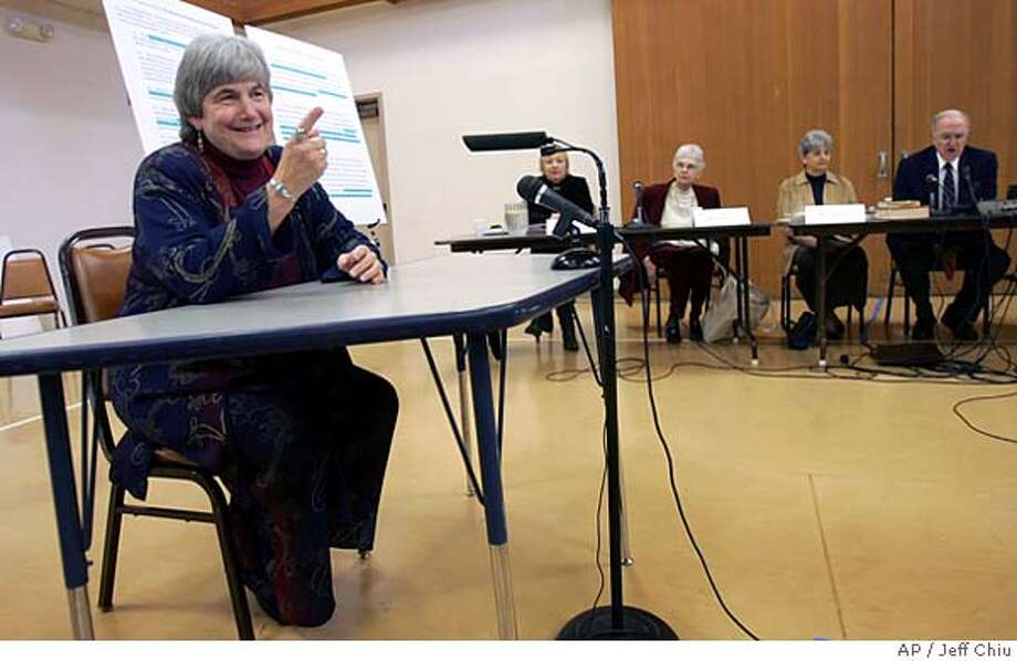 Rev. Jane Spahr, left, prepares to resume testifying before a church judicial commission in Santa Rosa, Calif., Thursday, March 2, 2006. Spahr, a Presbyterian minister from San Rafael, Calif., is accused of marrying two lesbian couples in violation of the faith's position on same-sex unions. (AP Photo/Jeff Chiu) Photo: JEFF CHIU