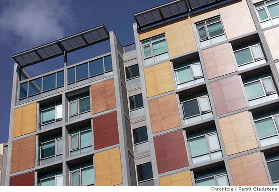PLAZA03 ARCHITECTURE REVIEW of new low-income supportive housing complex at 6th and Howard streets. Project has an assertive new presence on sixth street -- big concrete structure, multi-colored panels, different facades on Sixth street and Howard street that are varied for solar reasons. Photo by Penni Gladstone/The San Francisco Chronicle  Photo taken on 2/28/06, in San Francisco, CA. Photo: Penni Gladstone