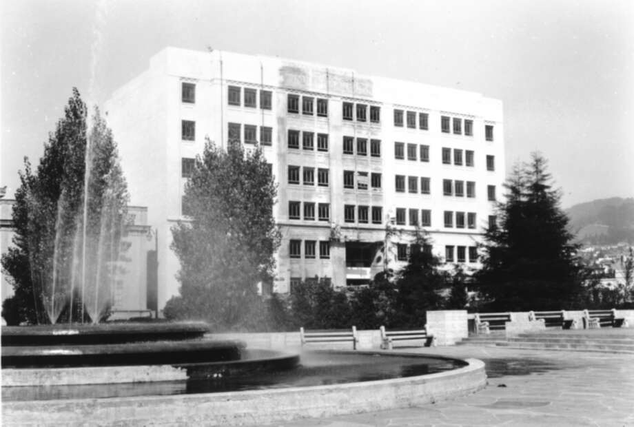 Photo of the Berkeley Civic Center Fountain taken on September 19, 1947. It is part of a series of construction photos of the building in the background. Photo credit: James W. Plachek Collection, Berkeley Architectural Heritage Association Photo: James W. Plachek Collection, Ber