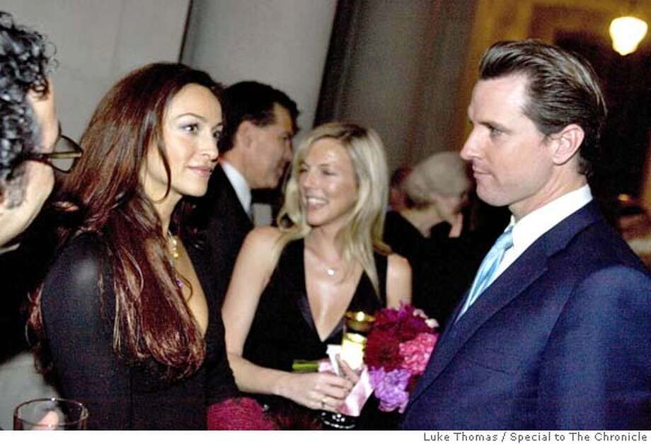 San Francisco Mayor Gavin Newsom eyes CSI:Miami actress, Sophia Milos, on the occassion of Joe Alioto-Veronese and Julie Gilman's wedding reception at City Hall on 2/19/6. Photo by Luke Thomas/Special to The Chronicle  ONE TIME USE ONLY!  Phone:(415) 290-1802  SanFranciscoSentinel.comRan on: 03-01-2006  Mayor Gavin Newsom eyes Sofia Milos at a wedding reception. Turns out the &quo;CSI: Miami'' star is also enamored of Scientology.Ran on: 03-01-2006  Mayor Gavin Newsom eyes Sofia Milos at a wedding reception. Turns out the &quo;CSI: Miami'' star is also enamored of Scientology. Photo: Luke Thomas/Special To The Chron