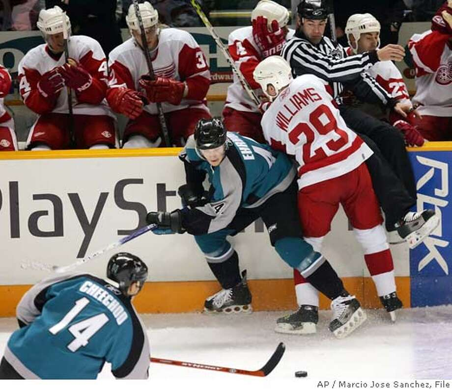Detroit Red Wings' Jason Williams (29) collides with the San Jose Sharks' Christian Ehrhoff, middle, of Germany, in the first period of an NHL hockey game in San Jose, Calif. on Tuesday, Feb. 28, 2006. (AP Photo/Marcio Jose Sanchez) EFE OUT EFE OUT Photo: MARCIO JOSE SANCHEZ