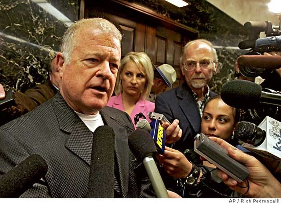 State Sen. Pro Tem Don Perata, D-Oakland, left, talks with reporters after a nearly hour long meeting with Gov. Arnold Schwarzenegger to discuss disaster prepardness, held at the Capitol in Sacramento, Calif., Wednesday, March 1, 2006. Perata told reporters that it was mystery to him why the Governor was calling for an additional $3.5 billion in bond funds to repair the Central Valley's fragile levee system.(AP Photo/Rich Pedroncelli) Photo: RICH PEDRONCELLI