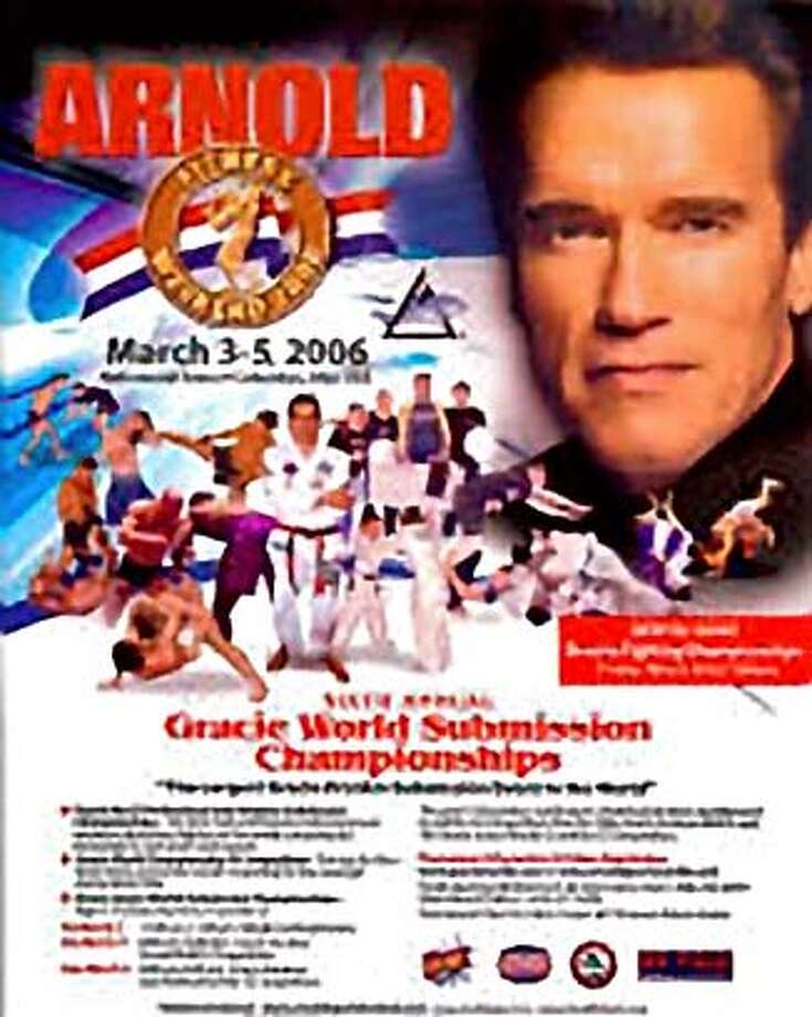 Image of the Gracie World Submission Championships poster featuring California governor Arnold Schwarzenegger. Taken from the gracieworlds.com web site. This image will reproduce poorly at sizes above 1 column. Photo: Screen Grab