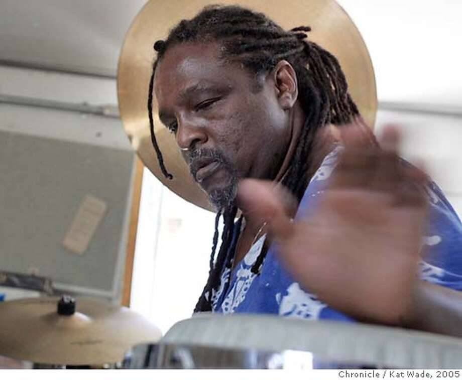 EBLDRUMMER_0004_KW.jpg  On 5/24/05 in Vallejo master drummer and musician Babatunde Lea practices in his Vallejo studio.  Kat Wade/ The Chronicle MANDATORY CREDIT FOR PHOTOG AND SF CHRONICLE/ -MAGS OUT Photo: Kat Wade