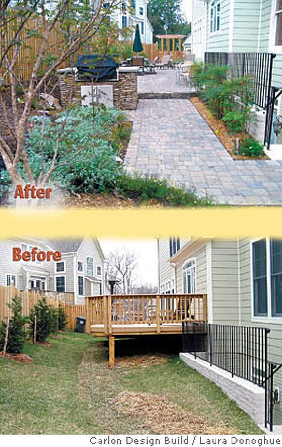 The backyard of Kristyn Reed-Salow and Mark Salow's home in Vienna, Va., before and after approximately $50,000 worth of professional landscaping. An awkward deck was replaced with a seat wall, an obscured paver patio, built-in grill and new plantings. Carlson Design Build photos by Laura Donoghue