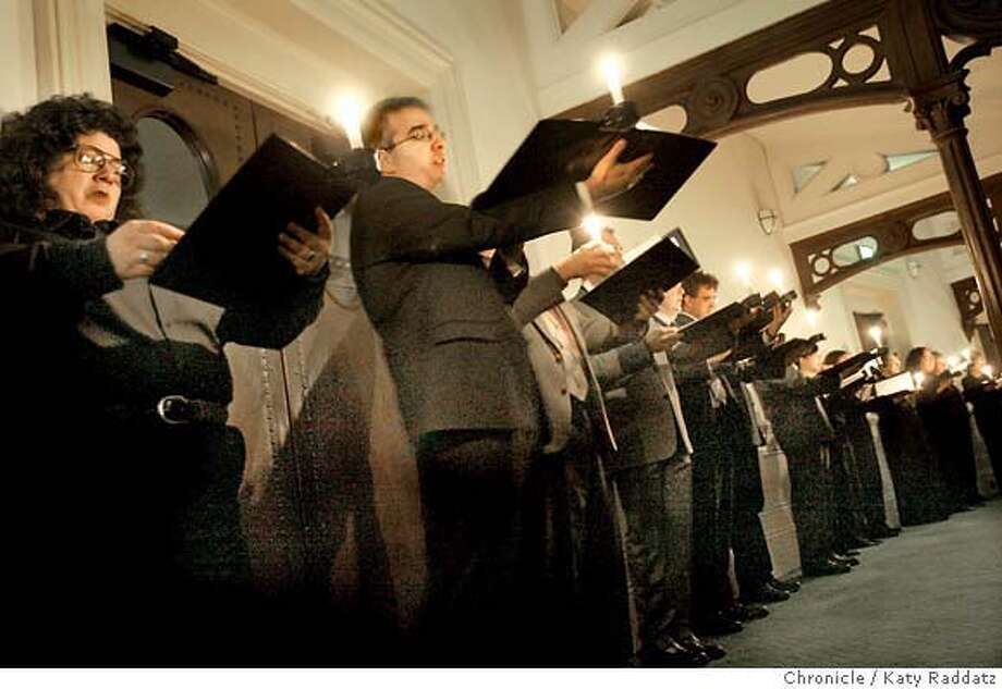 SHOWN: For the last number on the program, The Eighth Melody, by Thomas Tallis, the choir stood around the back and sides of the audience and sang by candlelight. The San Francisco Bach Choir performs a memorial tribute concert honoring their director David Babbitt, who died recently. The concert was held at the Calvary Presbyterian Church at the corner of Jackson and Fillmore in San Francisco. Photo taken on 2/26/06, in San Francisco, CA.  By Katy Raddatz / The San Francisco Chronicle MANDATORY CREDIT FOR PHOTOG AND SF CHRONICLE/ -MAGS OUT Photo: Katy Raddatz