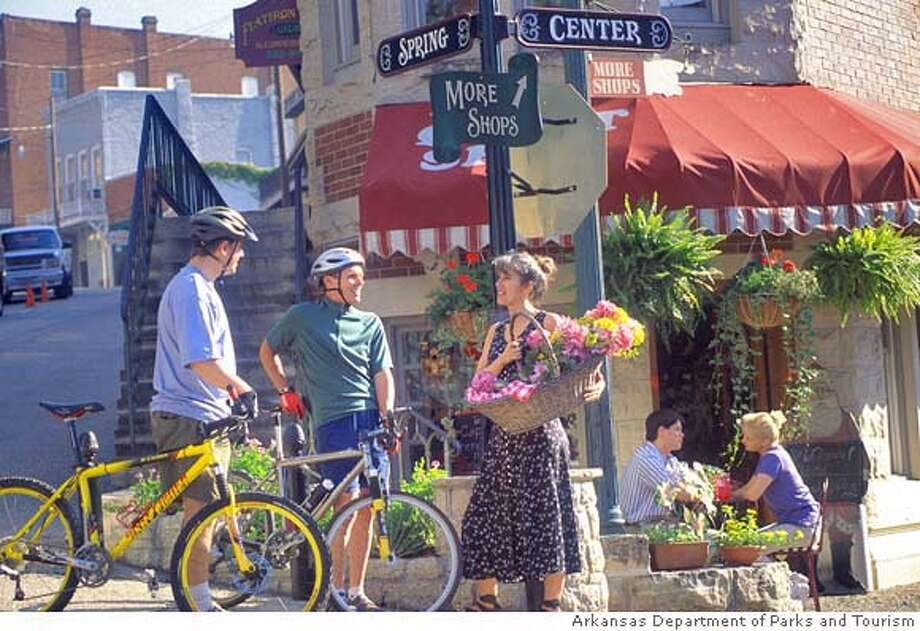 TRAVEL OZARKS -- Downtown Historic District, Eureka Springs. Photo courtesy Arkansas Department of Parks and Tourism. OK for skyboxes, wraps, all uses. Photo: Arkansas Department Of Parks And
